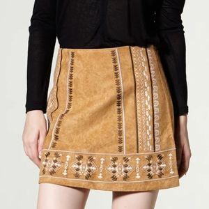 ✨Tan Faux Suede Boho Skirt